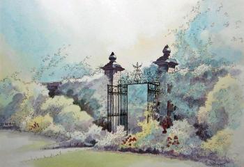 Arley Hall Gardens - Pen & Watercolour - 25cm x 35cm  SOLD
