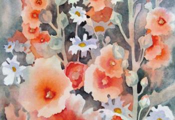 Hollyhocks and Daisies - Watercolour - 35cm x 25cm