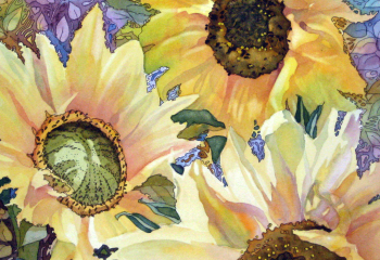 Sunflowers in the Afternoon - Pen & Watercolour - 30cm x 30cm