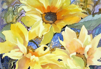 Sunflowers in the Sunshine - Pen & Watercolour - 30cm x 30cm - SOLD