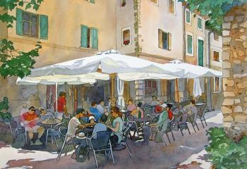 Majorcan Café - Pen & Watercolour - 25cm x 35cm