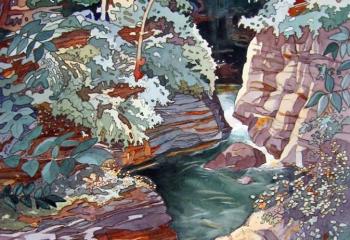 Afon Cynfal- Pen & Watercolour - 50cm x 35cm