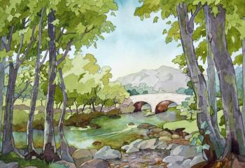 Afon Llugwy - Pen & Watercolour - 25cm x 35cm