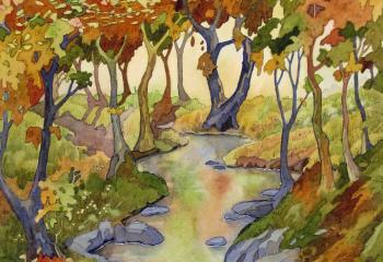Afon Wybrnant - Pen & Watercolour - 35cm x 25cm