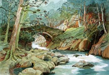 Cwm Bychan - Pen & Watercolour - 35cm x 50cm