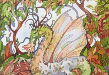 20cm x 30cm aprox. - pen and watercolour