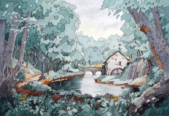 Mill at Loggerheads - Pen & Watercolour - 25cm x 35cm SOLD