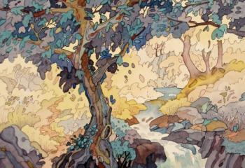 Near Garreg - Pen & Watercolour - 25cm x 35cm