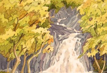 Rhaeadr Ddu, Maentwrog - Pen & Watercolour - 35cm x 25cm